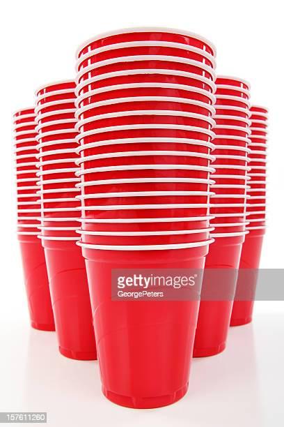 Rojo recipientes de plástico desechables