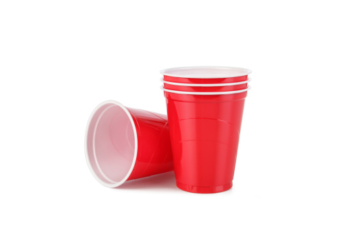 Red Plastic Disposable Cups with Clipping Path 157610664