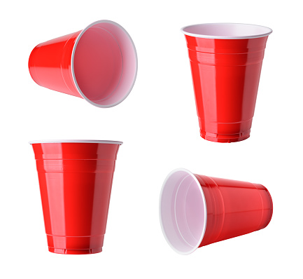 Red plastic party cups set, isolated on white background 881834636