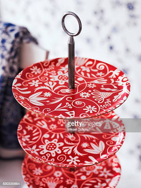 Red plates close-up