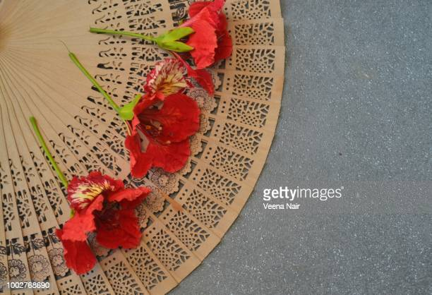red poinciana flowers on a sandalwood hand fan/summer - sandalwood stock pictures, royalty-free photos & images