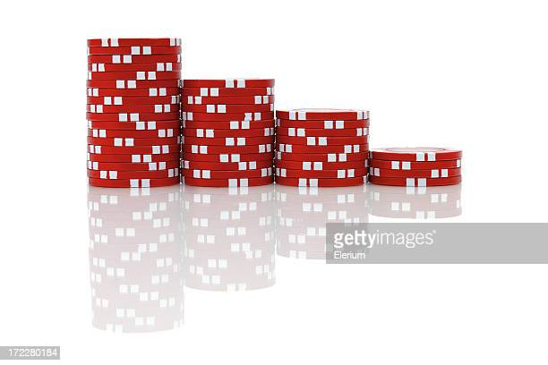 Red Poker Chips (isolated)