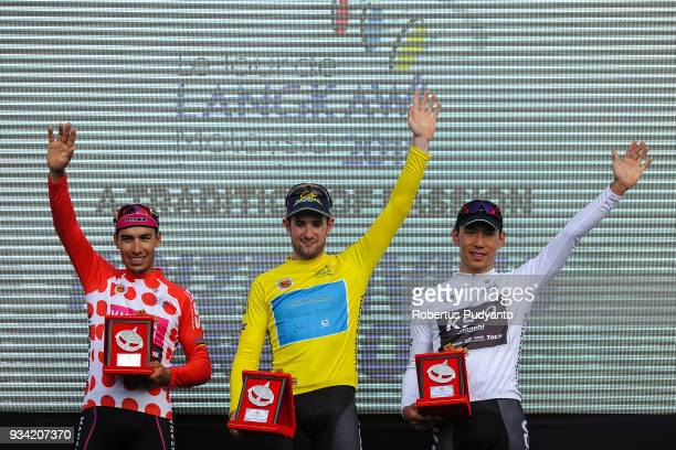 Red Polka Dot jersey winner Bernardo Albeiro Suaza Arango of Manzana Postobon Team Columbia Yellow jersey winner Riccardo Minali of Astana Pro Team...