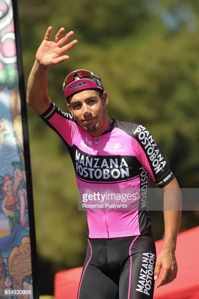 Red Polka Dot jersey winner Bernardo Albeiro Suaza Arango of Manzana Postobon Team Columbia celebrates on the podium during Stage 3 of the Le Tour de...