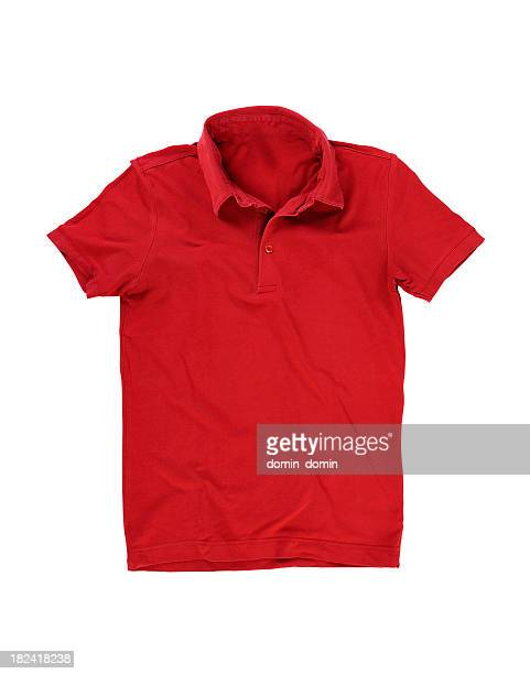Red polo shirt isolated on white