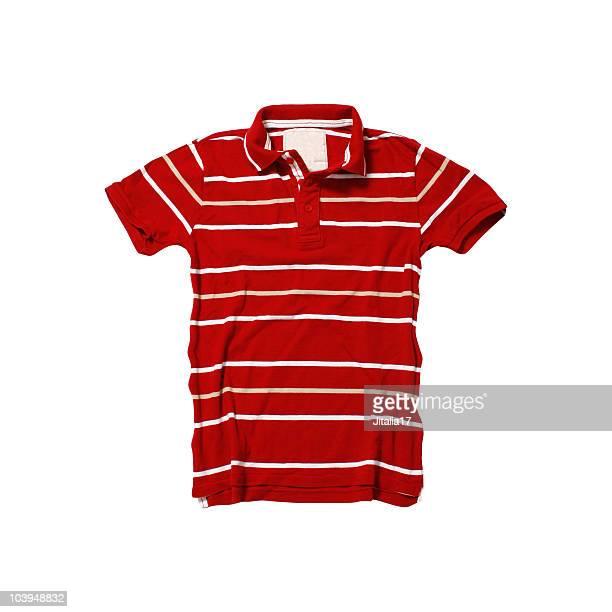 赤ストライプポロシャツ、白背景 - ポロシャツ ストックフォトと画像