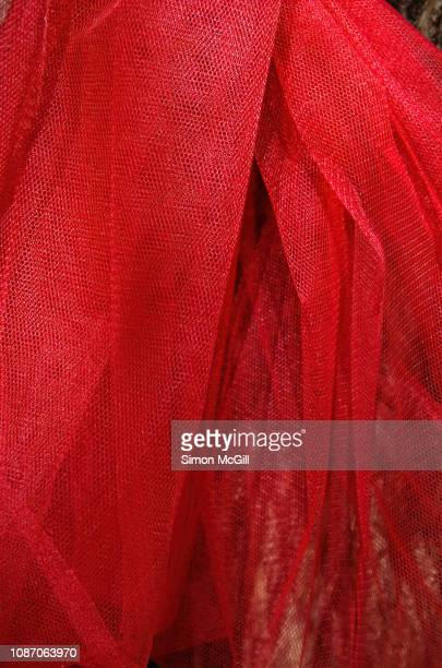 red polyester tulle gauze material - tulle netting stock pictures, royalty-free photos & images