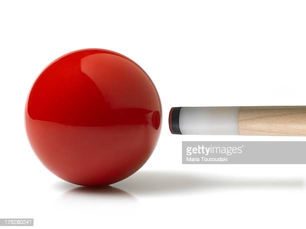 Red pool ball and cue