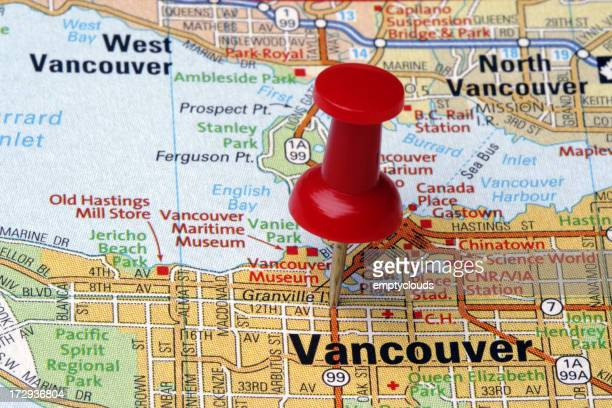 Red pushpin on Vancouver on a map