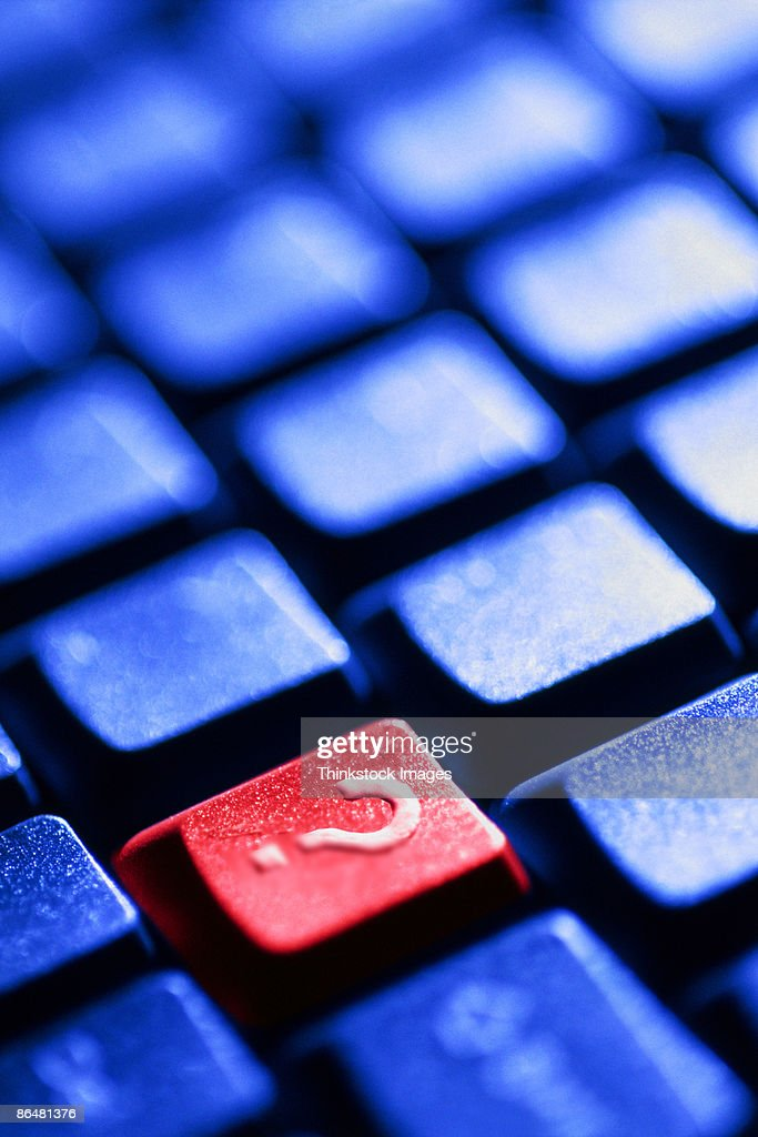 Red question mark key : Stock Photo