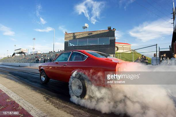 Red Race Car on Drag Strip