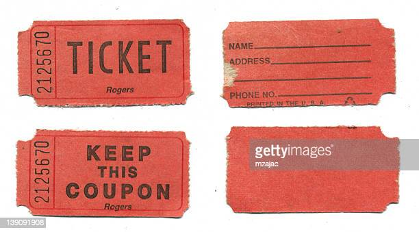 red raffle tickets on white background - raffle stock pictures, royalty-free photos & images