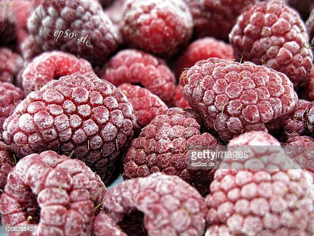 Red raspberry fruits Ice frozen food in winter