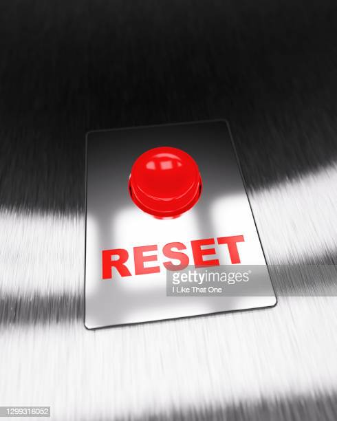 red reset button - atomic imagery stock pictures, royalty-free photos & images