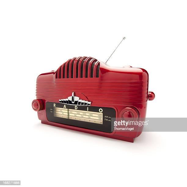 radio retro rojo - radio antigua fotografías e imágenes de stock