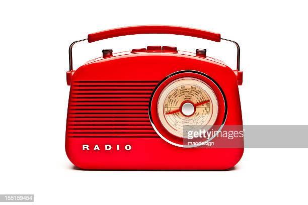 Red retro radio set isolated on white