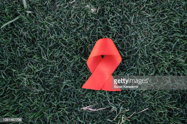 red ribbon awareness on green grass background for world aids day campaign. - heart month stock photos and pictures