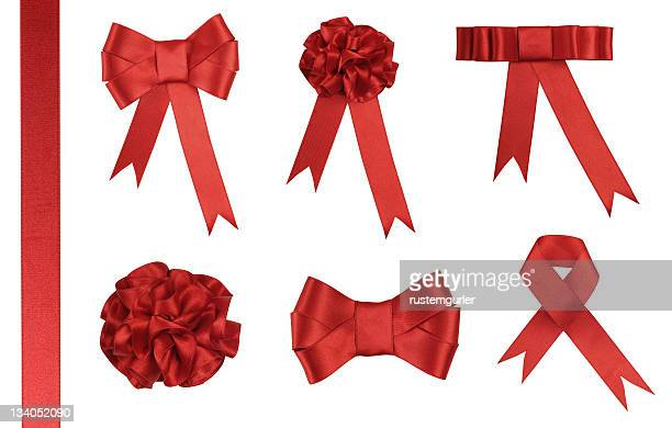 red ribbon gift - added clipping path - tied bow stock pictures, royalty-free photos & images