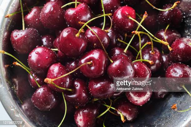 red ripe cherries in water drops, in an iron plate or colander. background. vegetarian, vegan, raw food. - 西シベリア ストックフォトと画像