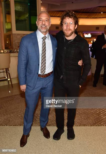 Red Rock Resorts CoFounder Lorenzo Fertitta and artist Dustin Yellin attend the From Dust To Gold preview party at the Palms Casino Resort on May 17...