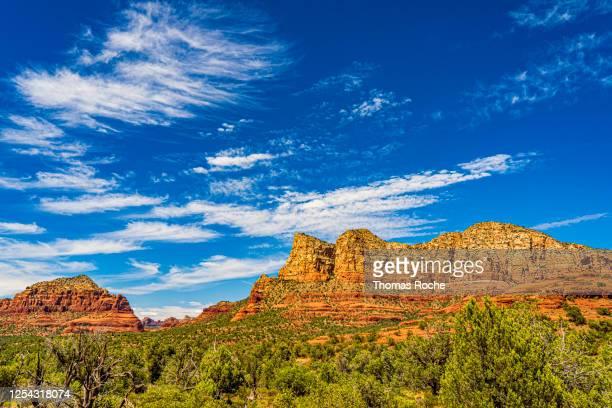 red rocks and blue skies in sedona, arizona - scottsdale arizona stock pictures, royalty-free photos & images
