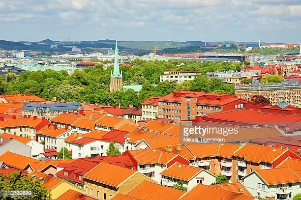 red roof tops of houses in haga, gothenburg sweden - ヨーテボリ ストックフォトと画像