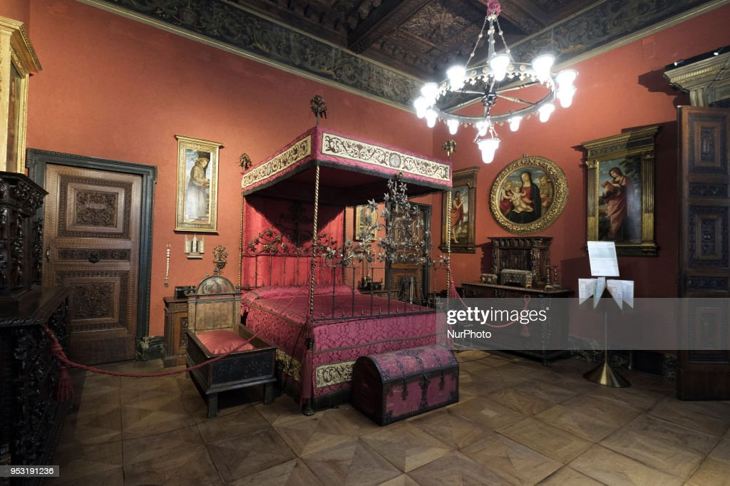Red Room with the grand Sicilian bed of gilded wrought iron dominates the matrimonial bedroom of Carolina Borromeo and Giuseppe Bagatti Valsecchi at the Bagatti Valsecchi in Milan, Italy, on 30 April, 2018.The Bagatti Valsecchi Museums collections principally contain Italian Renaissance decorative arts some sculptures. European Renaissance weapons, armor, clocks and a few textiles and scientific complete the collection assembled by the Barons Bagatti Valsecchi, and displayed in their home, as per their wishes.