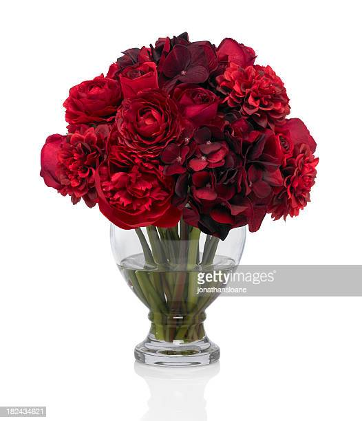 red rose and peony bouquet on white background - red roses stock pictures, royalty-free photos & images