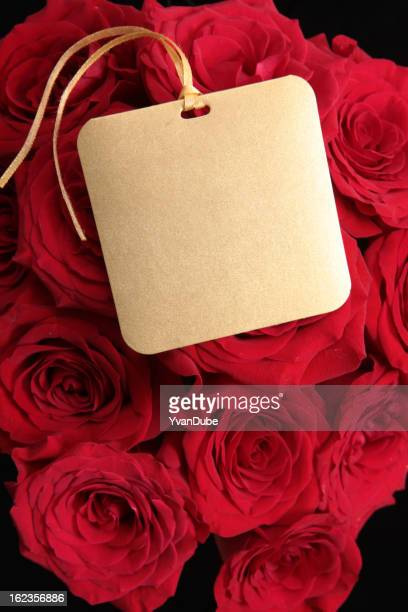 red rose bouquet with greeting card