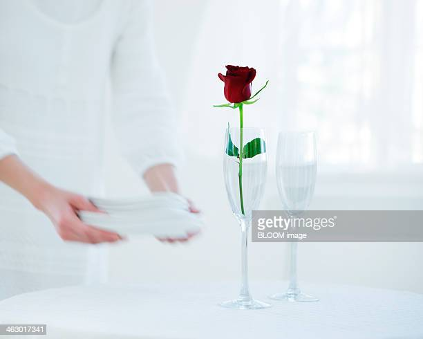 Red Rose In Champagne Flute