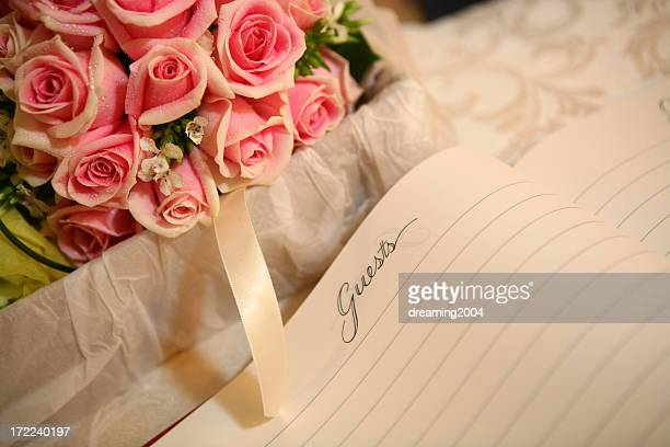 red rose with guestbook - wedding guest stock pictures, royalty-free photos & images