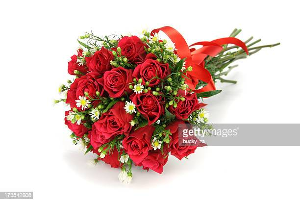 Red roses and  flower wedding bouquet isolated on white.
