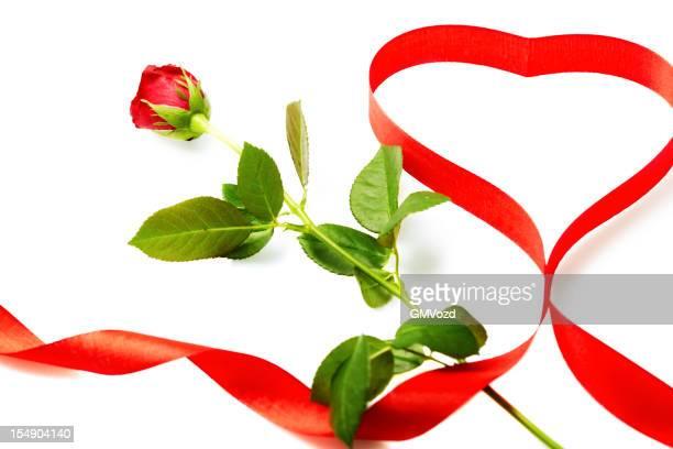 赤いバラとハート型