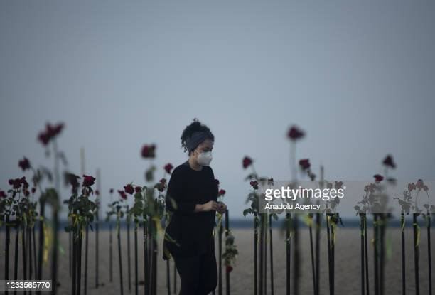 Red roses 'planted' during an event to pay homage to the over 500,000 registered Covid-19 victims and protest against the government's response to...