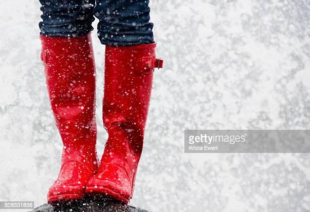Red Rubber Boots In The Rain; Tofino British Columbia Canada
