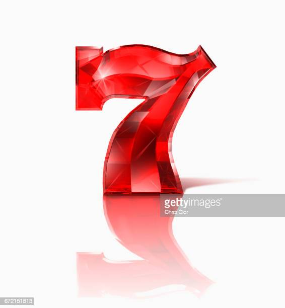 red ruby number seven on white background - 数字の7 ストックフォトと画像