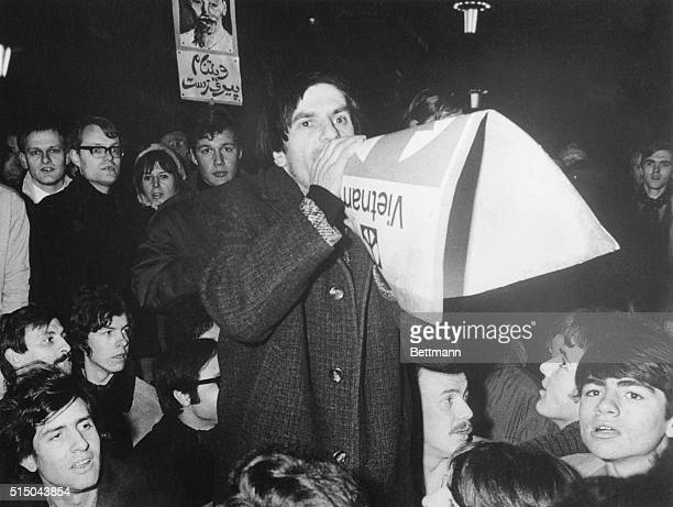'Red' Rudi Dutschke chief ideologist of the Socialist German Students Federation speaks to several hundred demonstrators during an antiVietnam...