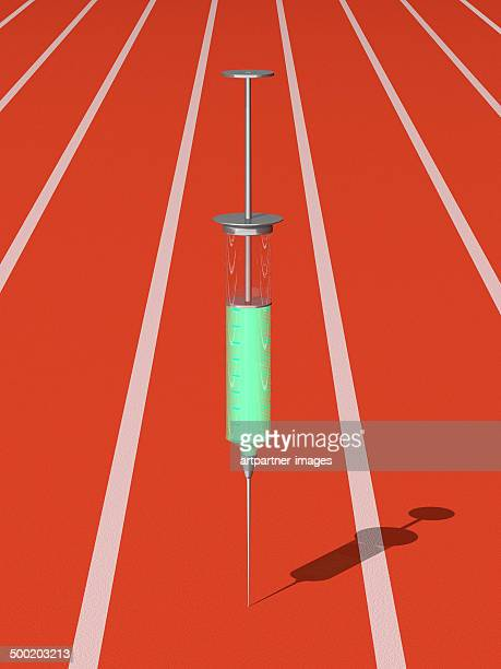 A red running track with a syringe