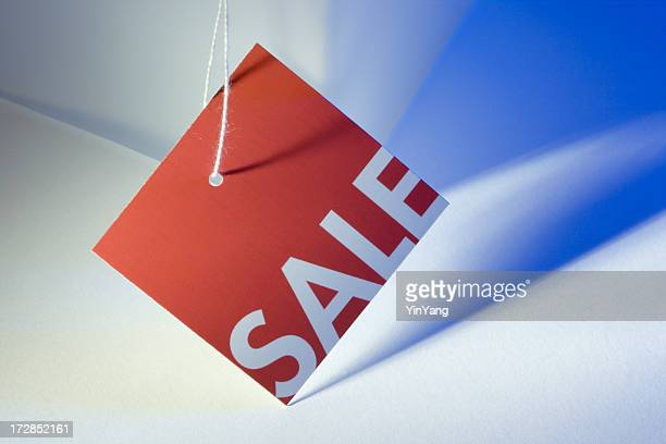 Red Sale Tag on Blue and White for Retail Discount