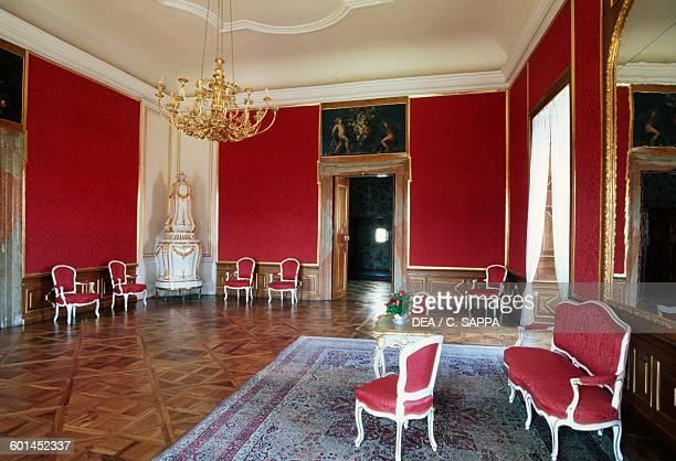 Red salon Valtice castle LedniceValtice cultural landscape Czech Republic 16th18th century
