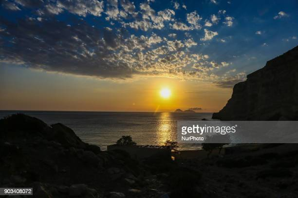 Red Sand beach or Kokkini Ammos in Greek is a nudist beach near Matala in Crete island in Greece Access to the beach is only through a 30 minute trek...