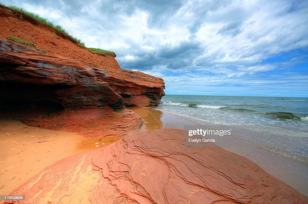 red sands of PEI. : Stock Photo