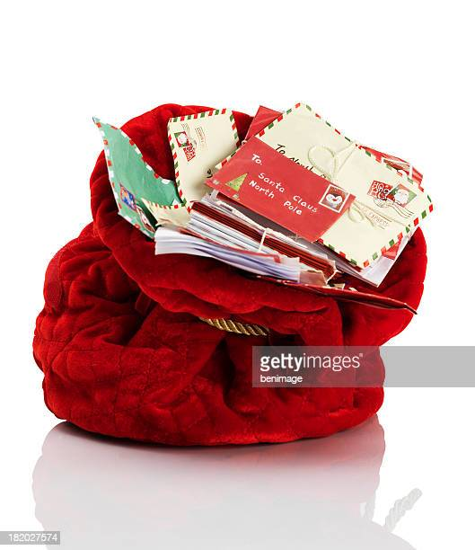 Red Santa Claus mailbag stuffed with letters