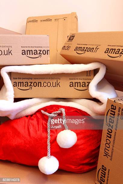 Red Santa's Sack with Amazon boxes - Holiday Shopping Online
