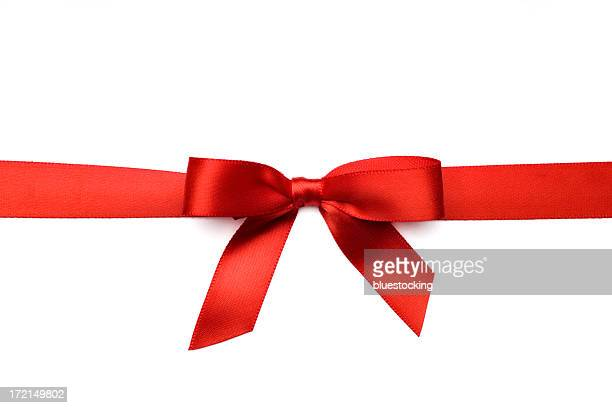 red satin gift bow (clipping path) - tied bow stock pictures, royalty-free photos & images