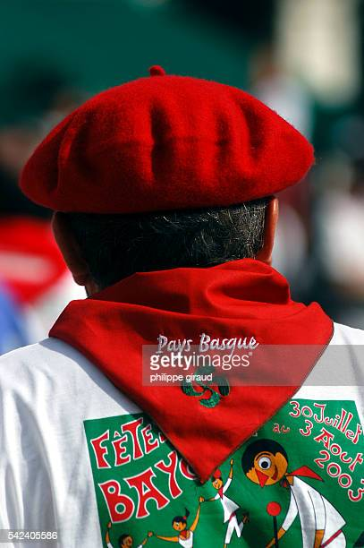 Red scarf and Basque beret during the 'Fêtes de Bayonne' celebrations