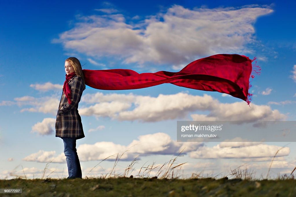 Red scarf at the blue skies : Stock Photo