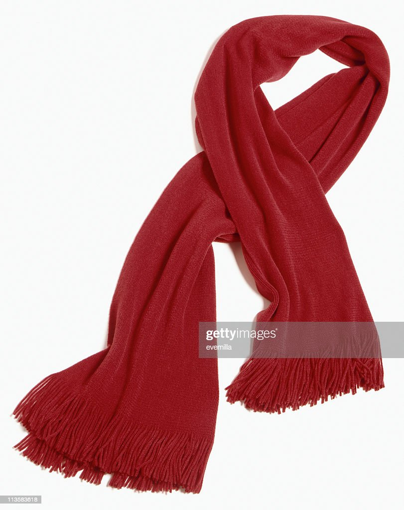 red scarf cut out on white : Stock Photo