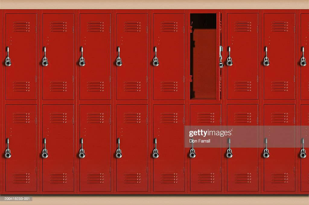 Red School Lockers One Locker Open High Res Stock Photo Getty Images