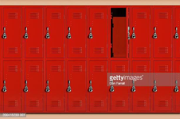 red school lockers, one locker open (digital composite) - armário com fechadura - fotografias e filmes do acervo